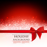 Elegant Holiday Red background with bow and place for text. Vect