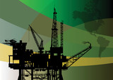 Oil rig abstract background, vector illustration