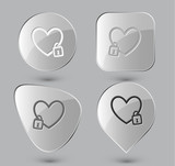 Closed heart. Glass buttons. Vector illustration.