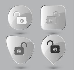 Opened lock. Glass buttons. Vector illustration.