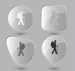 Traveller. Glass buttons. Vector illustration.
