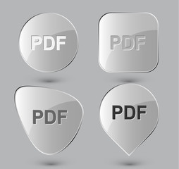 Pdf. Glass buttons. Vector illustration.