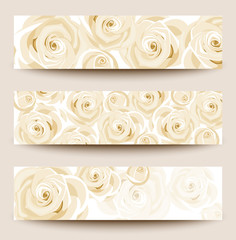Set of three vector banners with white roses.