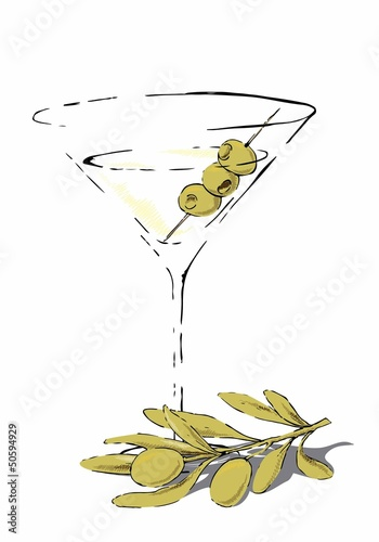 Glass of Martini garnished with olives
