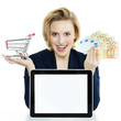 Business woman shopping on the internet with tablet pc