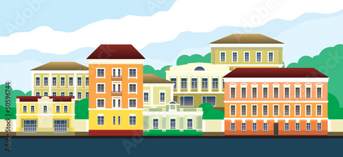 City landscape with beautiful old buildings. Vector