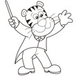 Cartoon Tiger Music Conductor