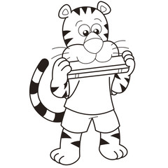 Cartoon Tiger Playing a Harmonica