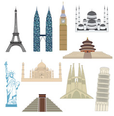 Travel icons, monuments, most popular destinations