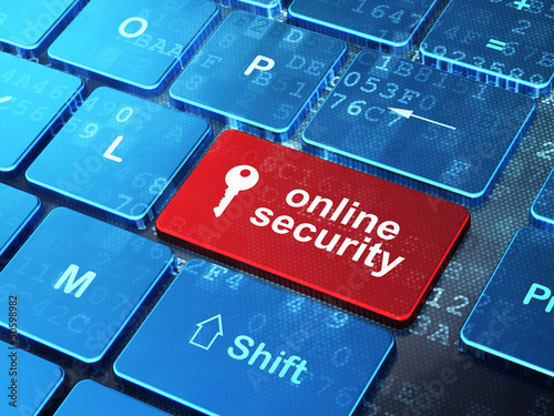 Safety concept: Key and Online Security on computer keyboard bac