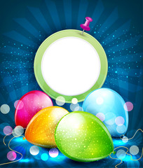 congratulation vector background with balloons and a round frame