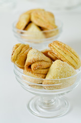 cookies in two glass bowls