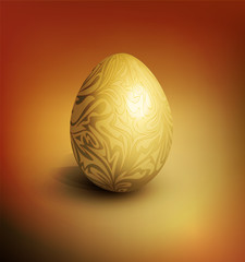vector easter background with gold filigree egg