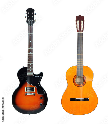 Classical acoustic guitar anf electric guitar