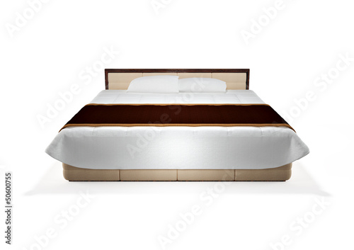 modern bed isolated on white, front view