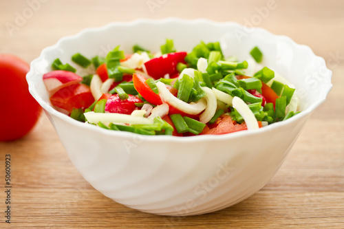 fresh salad of radish and tomatoes