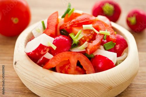 fresh salad of radish and tomatoes