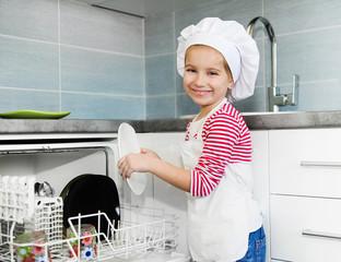 little girl on the kitchen