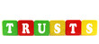 trusts - isolated text in wooden building blocks