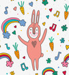 Cartoon seamless pattern with bunny rabbit