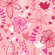 Cute seamless pattern with flowers and birds