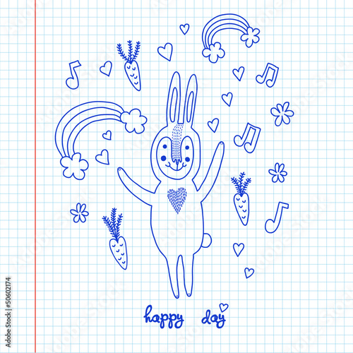 Cartoon cute bunny rabbit sketch