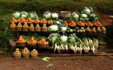 Vente de légumes bio.
