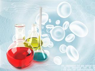 Laboratory flasks medicine background