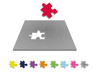 Jigsaw puzzle with missing piece 3D