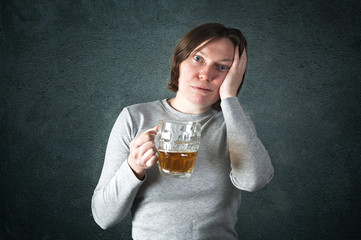 Adult woman drinking beer