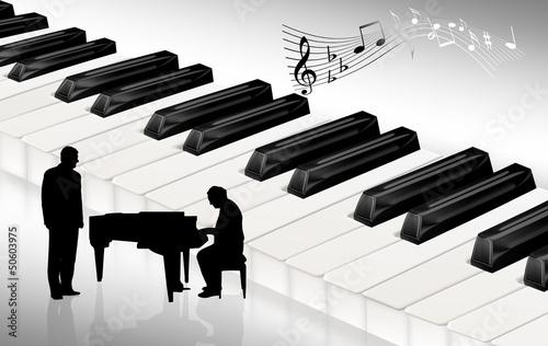 Klaviertastatur mit Pianist und Sänger