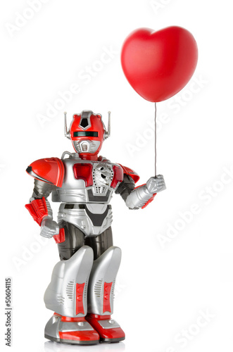 Robot holding red heart