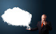 businessman presenting abstract cloud copy space