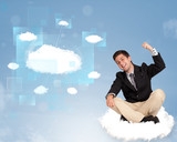 Happy man looking at modern cloud network