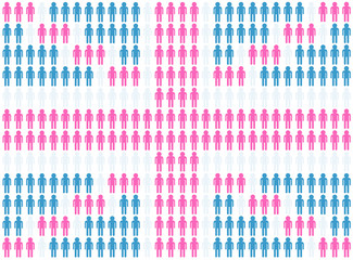 Pink British flag made from people