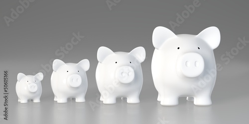 Piggy bank - increasing size (Front)
