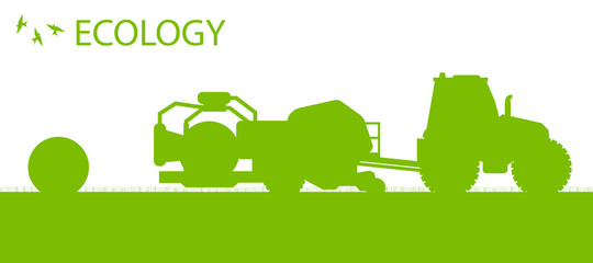 Ecology background organic farming vector concept with tractor m