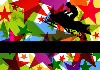 Snow mobile motorbike rider in colorful abstract star background