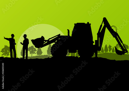 Excavator loader and workers digging at construction site with r