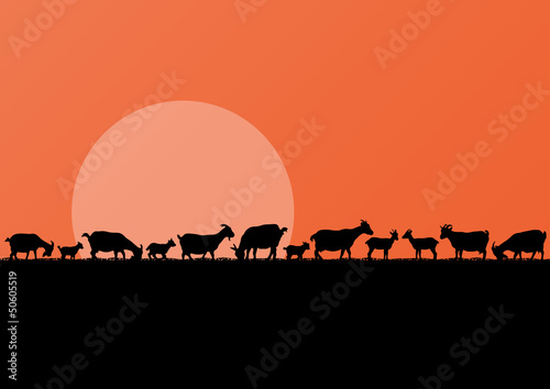 Farm dairy goats herd silhouettes landscape illustration backgro