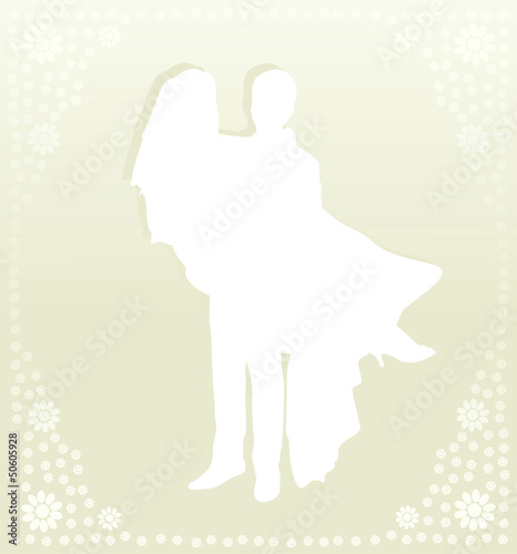 Wedding card with man and women in vector background