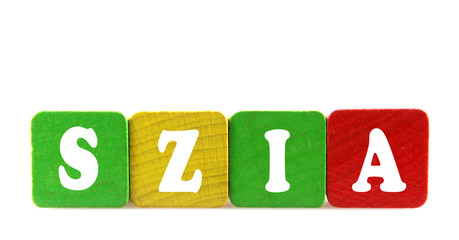 szia - isolated text in wooden building blocks