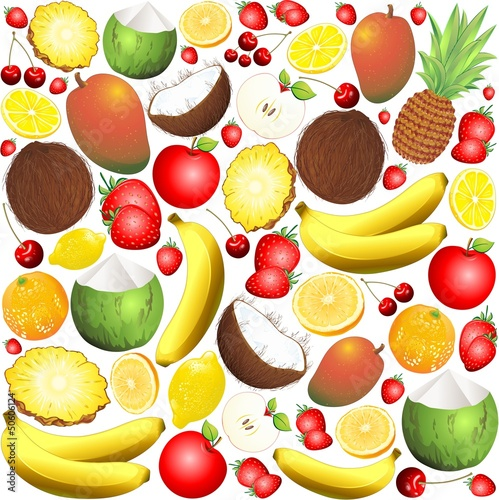 Fresh Fruits Pattern Background-Frutta Fresca Sfondo