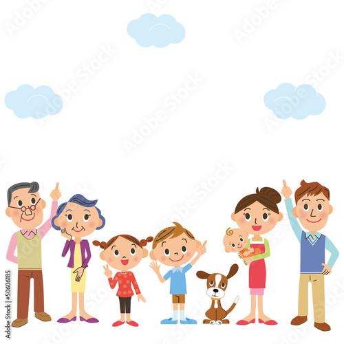 空を見上げる家族