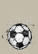 grungy soccer ball illustration, free copy space