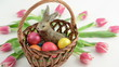 Zoom basket with bunny tulips and Easter eggs