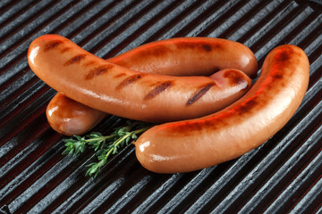 Grilled sausages on the barbecue