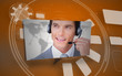 Digital speech box showing man in headset on orange background