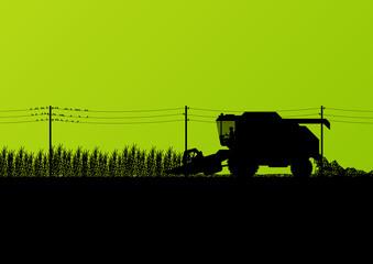 Agricultural combine harvester seasonal farming landscape scene