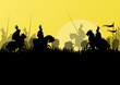 Medieval knight horseman silhouettes riding in battle field